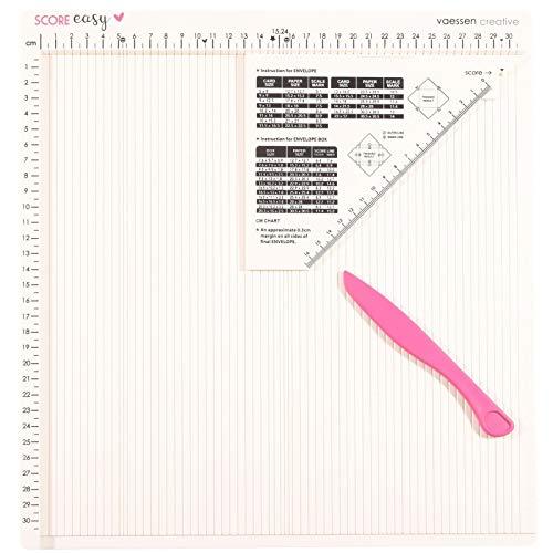Vaessen Creative Score Easy Falzbrett, Weiß, mit Zentimeter-Einteilung, Falzbein und Dreieckigem Lineal zum Falzen Gerader Linien, Karten basteln, Scrapbooking und Weiteres Papierbasteln