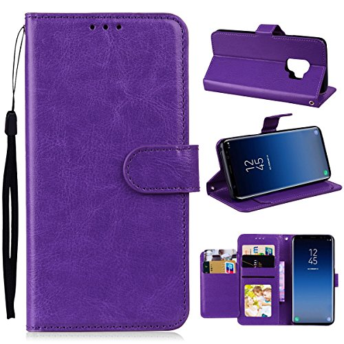 Galaxy S9 Plus Case, NOKEA [Flip Fit] [Kickstand Feature] Luxury Premium PU Leather Wallet CASE with ID &Credit Card-Slots for Samsung Galaxy S9 Plus (Purple)