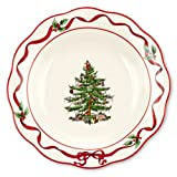 Spode Christmas Tree Sculpted Hostess Plate with Red Band, 7-Inch
