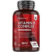 Vitamin B Komplex - 180 vegane Tabletten - 6 Monate Vorrat - Alle B Vitamine und Vitamin C - Natürliche und geprüfte Zutaten - Gut verträglich & bioverfügbar - 450µg B12 pro Tablette - WeightWorld