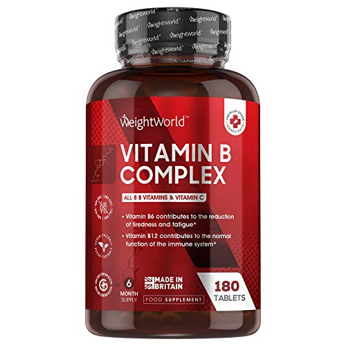 Vitamin B Complex with Vitamin C - 180 High Strength Vegan Tablets (6 Month Supply) - All 8 Essential B Vitamins B1, B2, B3, B5, B6, B8, B9 & B12, Natural Support for Daily Life Balance - Made in UK