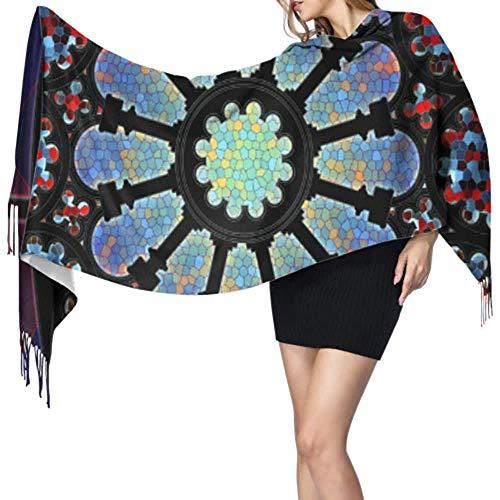 Prachtige Rose Raam Decoratie Grote Sjaals Voor Vrouwen Meisjes Sjaals Lange Wrap Sjaal Grote Zachte Pashmina Extra Warm