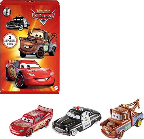 Disney Pixar Cars- Confezione da 3 Veicoli Radiator Springs, con Macchinine Saetta McQueen, Sceriffo e Cricchetto, Giocattolo per Bambini 3+ Anni, HBW14