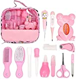 Baby Grooming Kit Newborn,13 PCS Baby Essentials for Newborn Baby Nail Clipper Baby Care Kit Set Newborn Grooming Set Essential Healthcare Accessories for Travelling Home Use with Carry Bag (Pink)