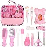 Kit per la toelettatura del neonato, 13 pezzi essenziali per il neonato, kit per la cura del bambino, set di accessori essenziali per la cura del bambino, con borsa per il trasporto (rosa)