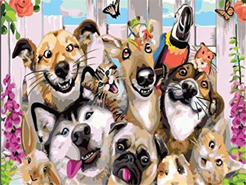 wojinbao DIY Digital Painting-Adult's Paint von Number Kits-Animal Hundefreund Paint von Numberson Canvas Geschenk für Erwachsene und Kinder Geburtstag Hochzeit(Mit Rahmen)