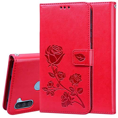 Miagon Rose Blume Hülle für Samsung Galaxy A11/M11,PU Leder Flip Schutzhülle Handy Tasche Wallet Case Cover Ständer mit Magnetverschluss,Rot