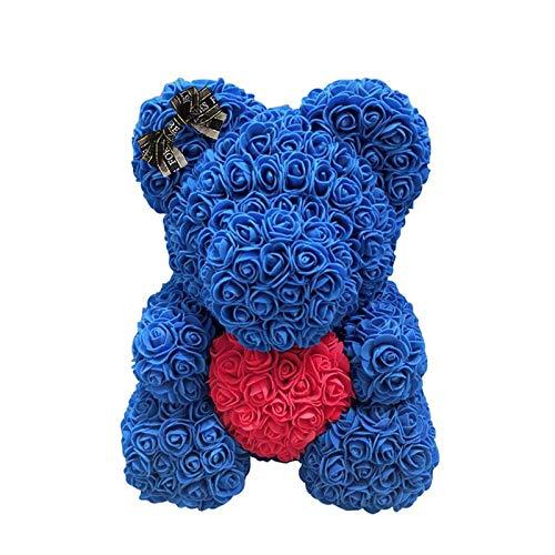 Orsacchiotto Di Rose Con Cuore, Rose Bear Teddy With Box 25cm Orso Rose Fiori Artificiali Con Scatola Orsetto Di Rose Finte In Schiuma Bambola Regalo Per Compleanno San Valentin Anniversario