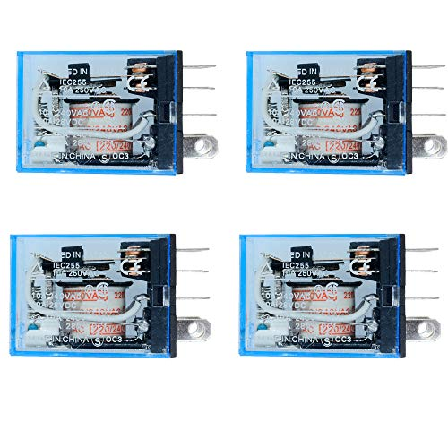 Aideepen 4 Pezzi LY2NJ AC 220 V Bobina 10A 240 V Relè di Potenza DPDT Lampada LED