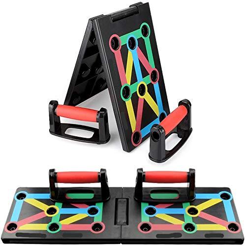 Push up Board,13 in 1 Multifunktions Faltbares liegestütze brett, Rutschfestes Fitness liegestütze brett für muskeltraining, push up rack board mit widerstandsband für...