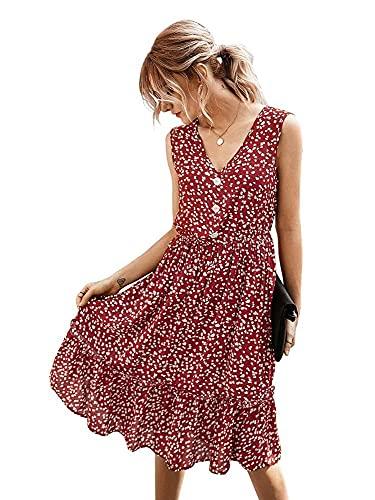 Dames midi-jurk Zomer V-hals mouwloos A-lijn mini-jurk Button-down overhemdjurk S-XL