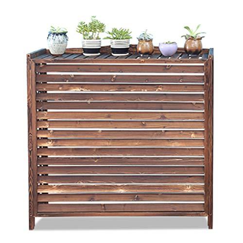 ZRHJ Massivholz Blumentopf Stand, Klimaanlage Abdeckung Balkon Pflanze Regal Dekoration Korrosionsschutz Halter, Outdoor-Klimaanlage Rahmen
