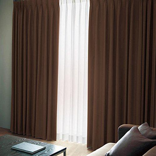[窓美人] 洗えるカーテンセット 「エール」 遮光性カーテン 2枚 + UV カット ミラーレース 2枚 + アジャスターフック チョコレート ブラウン 幅100×丈200(198)cm