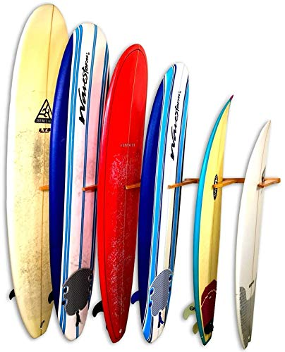 StoreYourBoard Vertical Timber Surfboard Wall Rack, Holds 6 Surfboards, Home and Garage Storage Mount System