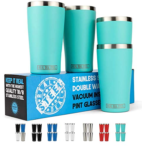 Stainless Steel Insulated Beer Tumblers - 4 Pack - Double Wall Vacuum Pint Glasses - Premium Metal Cups to Keep Drinks Cold (or Hot) - Rimless, Sweat Free, Shatterproof
