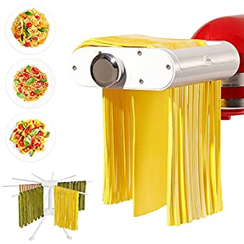 ANTREE Pasta Maker Attachment for KitchenAid Stand Mixers with Pasta Drying Rack & Cleaning Brush 3-1 Set includes Pasta Sheet Roller Spaghetti Cutter Fettuccine Cutter