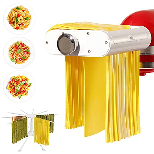 ANTREE Pasta Maker Attachment for KitchenAid Stand Mixers with Pasta Drying Rack & Cleaning Brush, 3-1 Set includes Pasta Sheet Roller, Spaghetti Cutter, Fettuccine Cutter