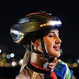 Wosiky Casco para Bicicleta Luz de conducción Nocturna Inteligente Caja Fuerte con navegación con señal de Giro Casco LED para Control inalámbrico para Hombres Mujeres