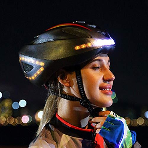 Wosiky Fahrradhelm Intelligenter Nachtfahrlicht Tresor mit Blinker Navigation LED Helm für Drahtlose Steuerung für Männer Frauen