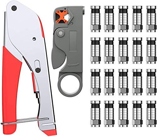Proster Crimpzangen Set F Typ Press-Crimpzange+ Koaxialkabel Drehschneider + 20 Stk. Crimpverbinder für Koaxialkabel RG 6 / RG 58 / RG 59 / RG 174 Tragbares Koaxialkabel Abisolierwerkzeug