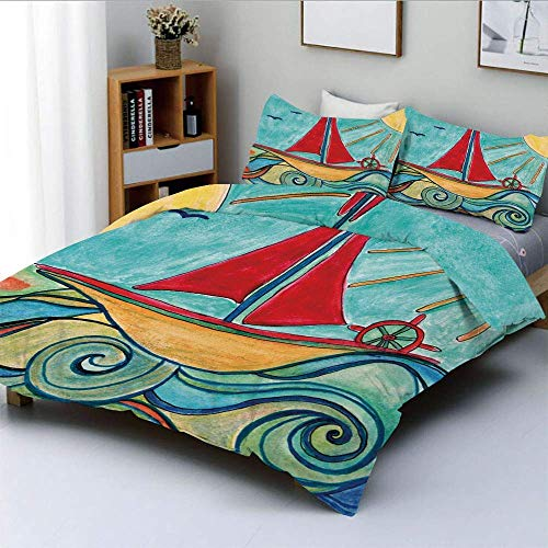 Duvet Cover Set,Baby Boy Paintings Ship in the Waves of Ocean Sun Kids Girls Nursery Picture Decorative Decorative 3 Piece Bedding Set with 2 Pillow Sham,Teal Red Earth Yellow,B