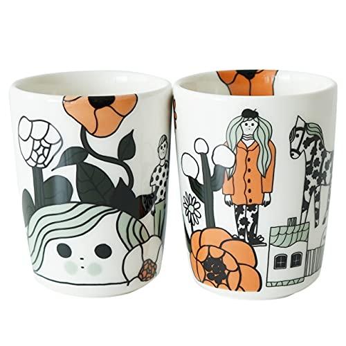 marimekko Marikyla ラテマグ トール 180ml コーヒーカップ (ハンドルなし) 1個 ホワイト×オレンジ (10) 日本限定 [71102]