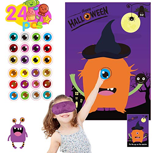 Funnlot Halloween Party Games for Kids Pin The Eye on The Monster Game Halloween Party Favors and Games Halloween