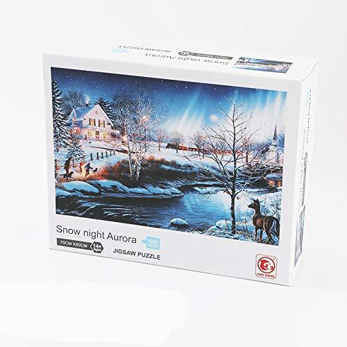 1000 Stück Themen Puzzlesets für Familien Erwachsene und Kinder Kinder Puzzlespiele Lernspiele Bodentisch Puzzle Snow Night Aurora