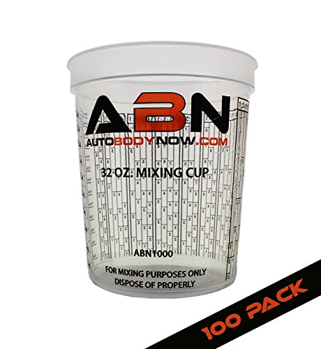 ABN Clear Plastic Mixing Cup 100-Pack 32oz Ounce /...