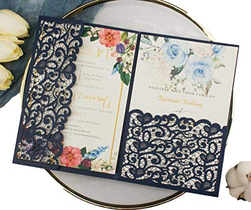 "1 Set 5""x7"" Navy Blue 250gsm tri fold Laser Cut Vintage Pocket Wedding Invitations Cards with Envelopes for Wedding Bridal Shower Greeting Invites"