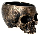 SUMMIT COLLECTION Bronze Resin Halloween Skull Candy Bowl Planter Dish Statue Sculpture Skeleton