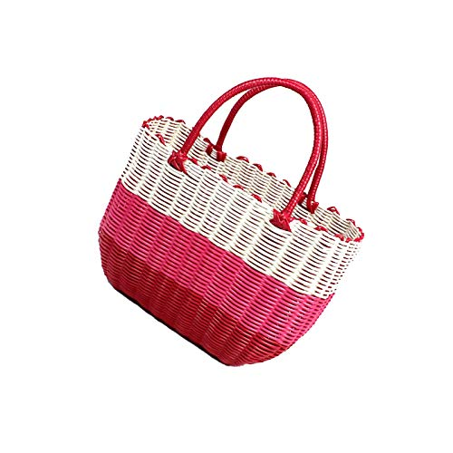 BANGSUN Cesta de plástico tejida para pícnic, tamaño grande, con asas, color rojo