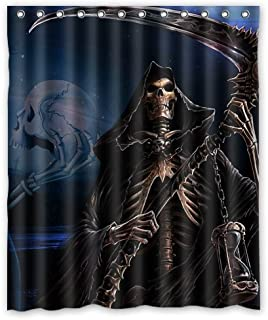 Shower Curtain Grim Reaper Death Skull Art Waterproof Fabric Bathroom 60(w) x72(h) Inch