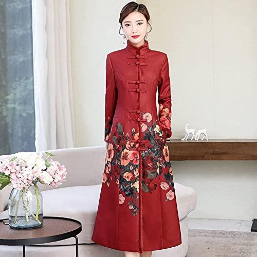 CIDCIJN Vestito Cinese - Abiti Invernali Donna Plus Size Abito Orientale Rosso Colletto Alto Manica Lunga Cheongsam Qipao Eleganti Abiti Cinesi,M