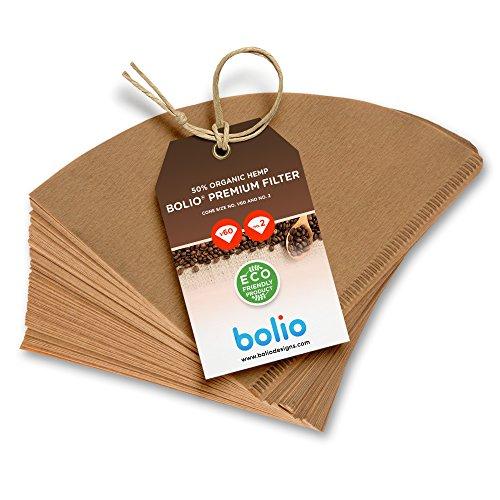 Premium Unbleached Hemp V60 Paper Cone Coffee Filters - 100 Count - Fits All no.2 Size Chemex, Bodum, Hario Cone Coffee Drippers- 100% Biodegradable & Zero Sediment by Bolio