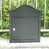 GUOJINE Buzón, Casilla de correo de metal montado en la pared Soporte de periódico impermeable con cerradura al aire libre Buzones acero Buzón de Acero Inoxidable (Color : Black)