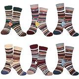 Emooqi Hombre/Mujer Invierno Cálidos Calcetines, 6 Pares Calcetines de Lana algodón de Punto, Confort Casual de Invierno Vintage Transpirable Calcetines
