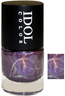 Idol holographic rainbow color nail polish, 10 ml, Purple