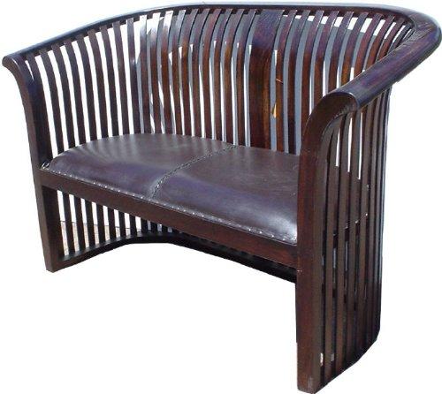 Guru-Shop Kolonialstil-Sofa aus Teakholz mit Gepolsterter Ledersitzfläche - Modell 10, Braun, 90x140x70 cm, Sitzmöbel