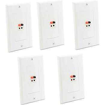 diyTech Premium Speaker Wall Plate 5 Pack Black Spring Loaded Speaker Wire Wall Plates for Home Theater Wall Speakers -