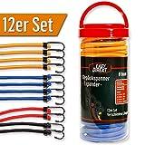 EasyDirekt 12er Set - Premium - Gepäckspanner Expander Spanngurte mit stabilen Stahl-Haken, in div. Längen + Farben, inkl. Aufbewahrungsbox
