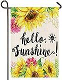 Atenia Hello Summer Sunflower Burlap Garden Flag, Double Sided Garden Outdoor Yard Flags for Summer Decor (Garden Size 12.5'X18')