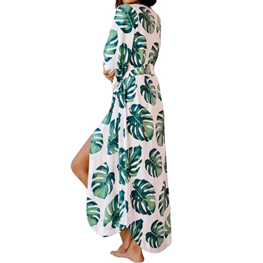 ballboU-Women Vacation Swimsuit Cover Up Green Tropical Leaves Open Front Cardigan, Belted Irregular Curved Hem Beach Bath Robe