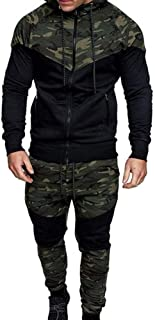 Men 's Tracksuit Set Camouflage Sweatshirt Jogger Sweatpants Solid Patchwork Warm Sports Suit