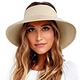 FURTALK Sun Visor Hats for Women Wide Brim Straw Roll Up Ponytail Summer Beach Hat UV UPF Packable Foldable Travel (One Size,21.6''-23.6'' Pure Beige)