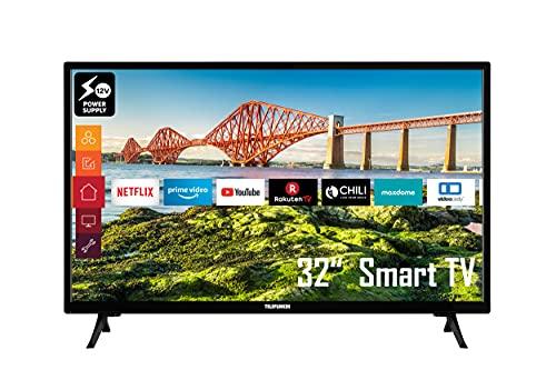 Telefunken XH32J511V 32 Zoll Fernseher (Smart TV inkl. Prime Video, Netflix , HD ready, HDR10, 12 Volt, Works with Alexa, Triple-Tuner, HD+) [Modelljahr 2021]