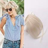 HIKYUU Blonde Wispy Bangs Extensions Clip in Human Hair #613 Real Hair Bangs Extensions Clip in Human Hair Hairpieces for Women Bangs