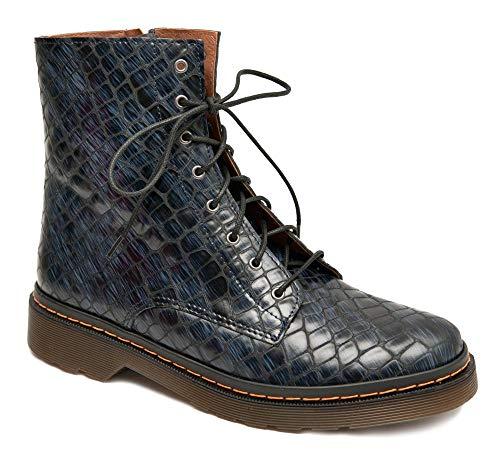 Brako Stiefeletten Boots OPAKO 1223 Marino blau Ziguli Reptil Leder geprägt (Numeric_38)