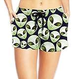 Women's Beach Board Shorts Alien Green Head Swim Trunks Briefs Swimsuit M