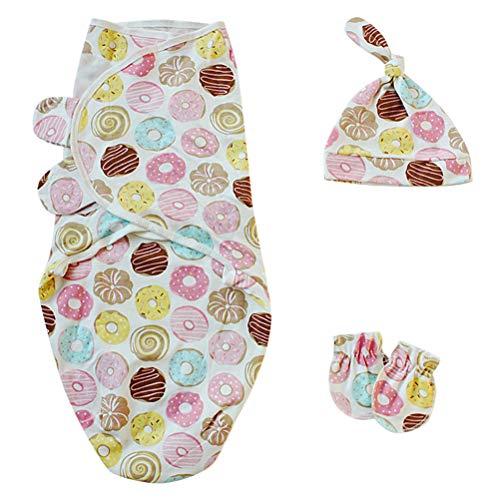 Leikance Baby Pucksack für Neugeborene, Anti-Kicking-Schlafsack mit Hut und Handschuhen, Baumwolle Wickelset